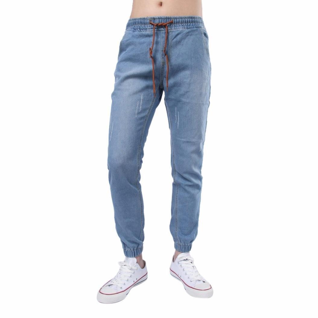 Realdo Mens Elastic Pencil Trousers, Drawstring Scratch Solid Cotton Denim Pants(Light Blue,Medium)