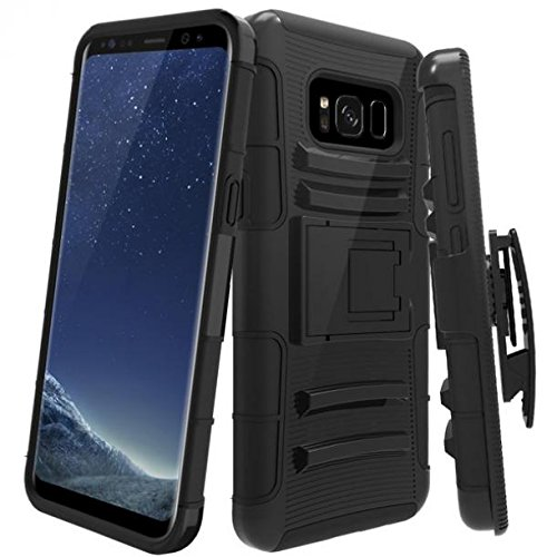 Shockproof Case Holster Hybrid Cover Swivel Belt Clip Defender Heavy Duty Armor with Drop Protection [Black] for Samsung Galaxy S8+ [PLUS]