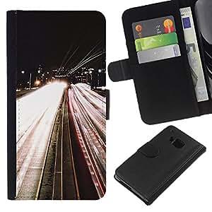 For HTC One M7 Case , Road Lights Night Car Speeding By - la tarjeta de Crédito Slots PU Funda de cuero Monedero caso cubierta de piel