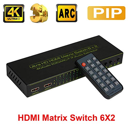 Switcher Matrix A/v (6x2 HDMI Matrix Switch, ZAMO 6 in 2 Out HDMI Switcher/Splitter Audio Extractor with Optical & L/R Audio Output -Support 4K,3D 1080p,ARC,PIP, HDCP 1.2 1.4- Includes IR Remote Control)