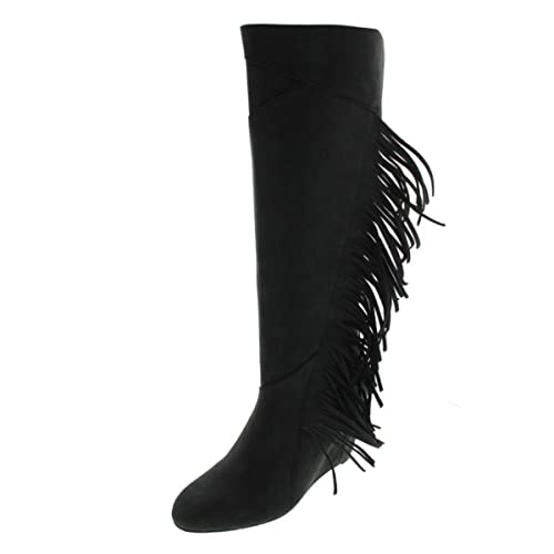 9f483f0e2cf0 Koolaburra Womens Paradis Leather Fringe Wedge Boots  Amazon.ca  Shoes    Handbags