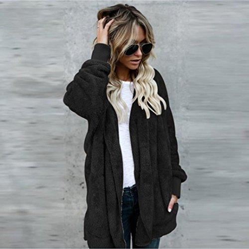 Abrigo rebeca capucha Abrigo capucha Internet mujer la Negro Chaqueta de Outwear Parka con largo con pqxdOw1