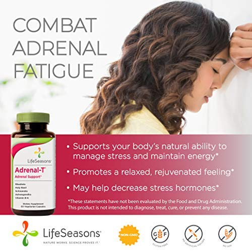Life Seasons - Adrenal -T - Adrenal Fatigue Support Supplement - Helps Lower Cortisol - Avoid Burnout - Aids Stress Management - Energizing - with Ashwagandha (Adaptogens) - (60 Capsules)