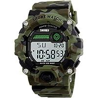 Stopwatch Watches reloj deportivo LED, de camuflaje, electrónico, digital, impermeable, de muñeca, informal, con correa de silicona y alarma luminosa, para niños