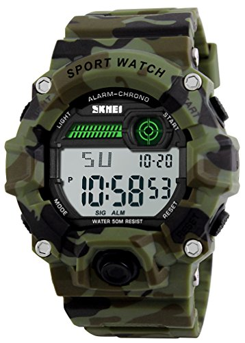 Boys Camouflage LED Sport Watch,Waterproof Digital Electronic Casual Military Wrist Kids Sports Watch with Silicone Band Luminous Alarm Stopwatch Watches ()