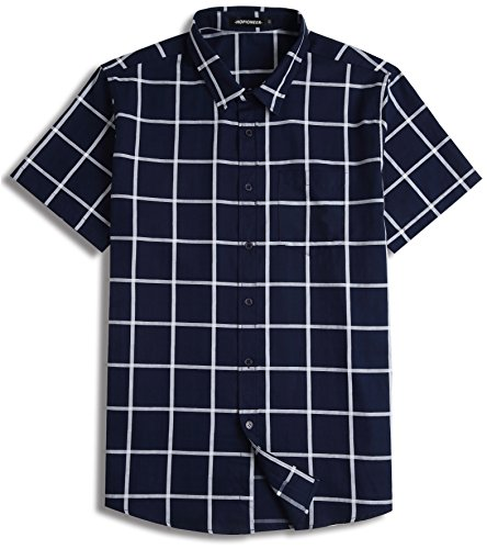 Hopionner Men's Button up Shirt Short Sleeve 100% Cotton Standard-fit Large Check Casual Plaid Dress Shirt Open Collar ()