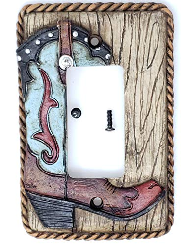 Horse Outlet Cover - Rainbow Trading RA 4783 Western Turquoise Boot Decorative Single Rocker Switch Plate Cover