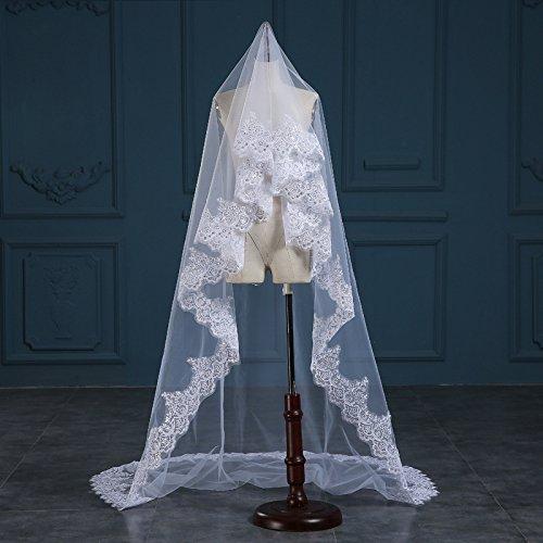 WWJ Wedding veil of the bride veil One-tier Chapel Veils Lace Applique Edge Tulle (Swiss net yarn) , -