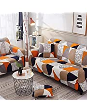 Sofa Cover for 1/2/3/4 Seater with Various Printed and Size 3 Seater Sofa Cover 2 Seater Couch Stretch Armless Sofa Slipcover Furniture Protector with Pillowcase (2,4 Seater (235-300cm))