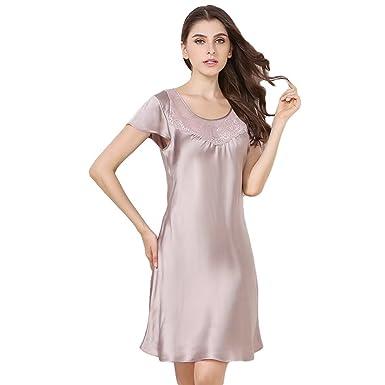 04adfe65b6 Onlygiftsu Women s Silk Sleep Shirt Sleepwear Nightshirt 100% Pure Luxury  Mulberry Silk Nightgown Black