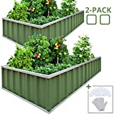 horizontal wood fence KING BIRD Extra-Thick 2-Ply Reinforced Card Frame Raised Garden Bed 68''x36''x12'' x2 Pack Galvanized Steel Metal Planter Kit Box with 8pcs T-Types Tag & 1 Pair of Gloves (Green 2-Pack)