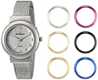 Peugeot Women's '7 Bezel Interchangeable' Quartz Metal and Stainless Steel Dress Watch, Color Silver-Toned (Model: 642)
