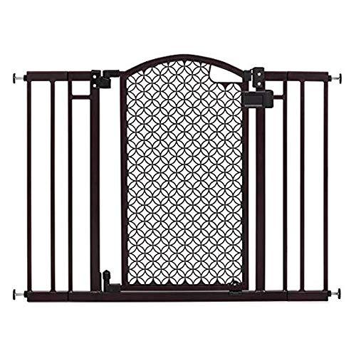 "Summer Modern Home Decorative Walk-Thru Baby Gate, Metal with Bronze Finish, Decorative Arched Doorway – 30"" Tall, Fits…"