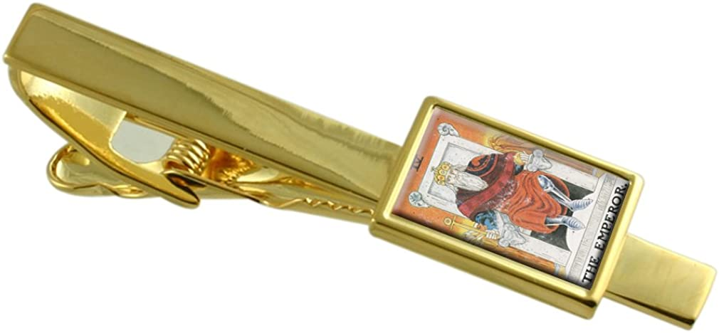 Select Gifts Tarot Emperor Card Gold-Tone Tie Clip Engraved Message Box