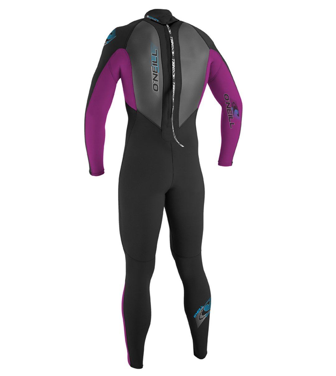O'Neill Youth Reactor 3/2mm Back Zip Full Wetsuit, Black/Pink/Graphite, 8 by O'Neill Wetsuits (Image #2)