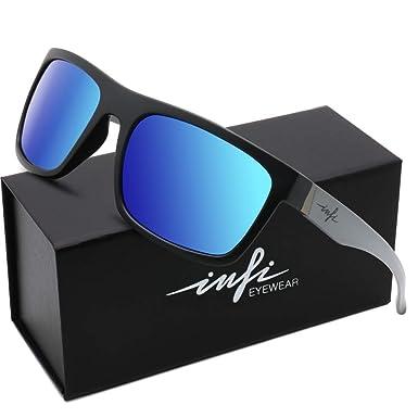 c54adebc849f Polarized Fishing Sunglasses for Men Women Wayfarer Vintage Glasses Nylon Lens  Black Frame TR90 (Black