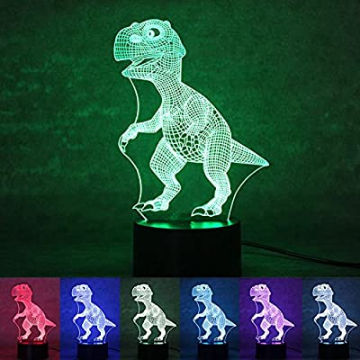3D LED lampe de nuit, Colorful Dinosaure Forme Magical Illusion 3D Lampe, Chambre Décoration Meilleur cadeau, Touch Control Lumière 7 couleurs changent USB Powered Lampes de bureau