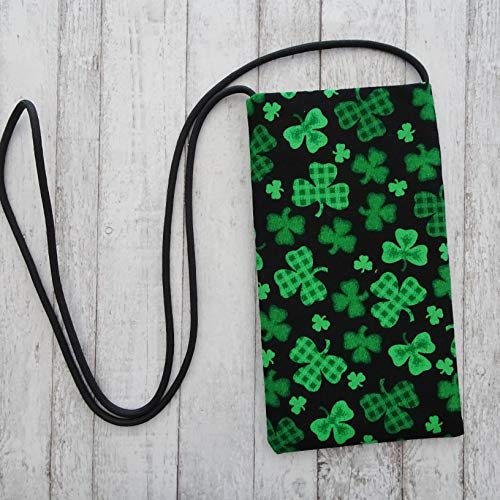 Shamrock Fabric Cell Phone Pouch, St Patrick's Day Bag, Cross Body Strapped Small Purse