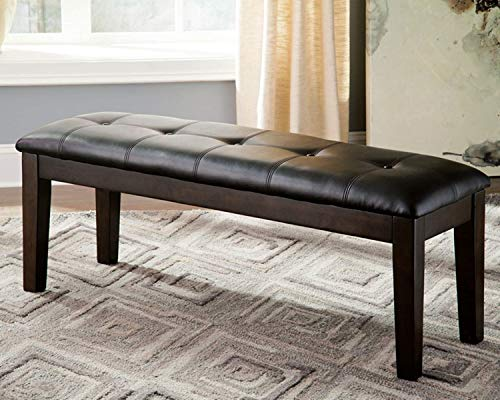 Kitchen Dining Bench, Leather Bench Seating, Accent Backless Bench for Living Room, Brown Bench for Indoor, Modern Bedroom Ottoman, Decorative Dining Seat Furniture with Padded Sitting