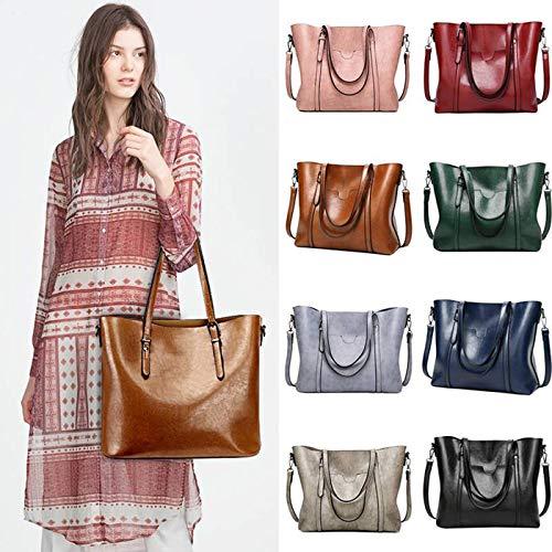Guang Messenger Vintage Pelle Body Cross Di Brown Jun Cera Borse Grande Donna Tote Borsetta Bag Olio Ladies Casual In qgdgpx6Cw