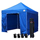 UNIQUECANOPY Enhanced 10×10 Ez Pop up Canopy Instant Tent Outdoor Party Portable Folded Commercial shelter, with 4 x Side Walls, Wheeled Carrying Bag and Bonus 4 x Sand Bags Blue For Sale