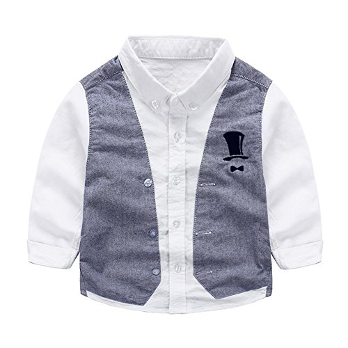 Tortor 1Bacha Kid Boys' Little Gentleman Long Sleeve Waistcoat Vest Shirt White 4T by Tortor 1Bacha