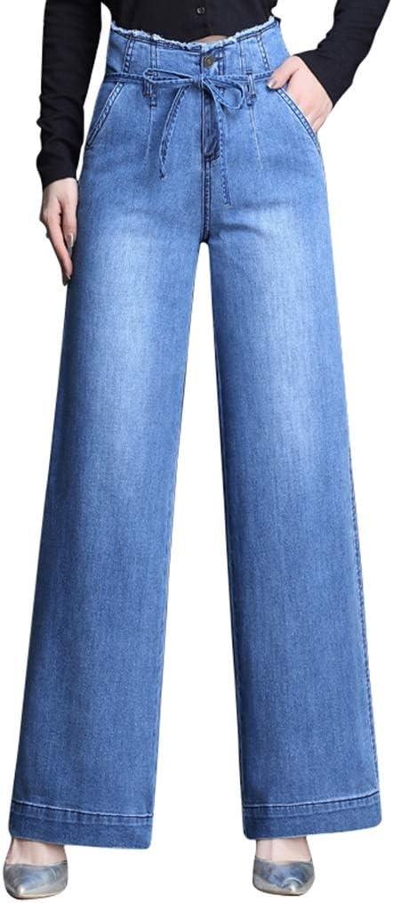 Zhounan Pantalones Vaqueros Mujer Nueva Version Coreana De Los Pantalones Anchos De Sensacion La Cintura Alta Era Delgada Pantalones Rectos Flojos Flojos Mujeres Pantalones Anchos De Mezclilla 102cm Amazon Es Hogar