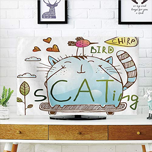 iPrint LCD TV Cover Lovely,Quirky Decor,Kitten and Birdie Friends on Skateboard Playing Doodle Hearts Flowers Clouds Decorative,Multicolor,Diversified Design Compatible 37