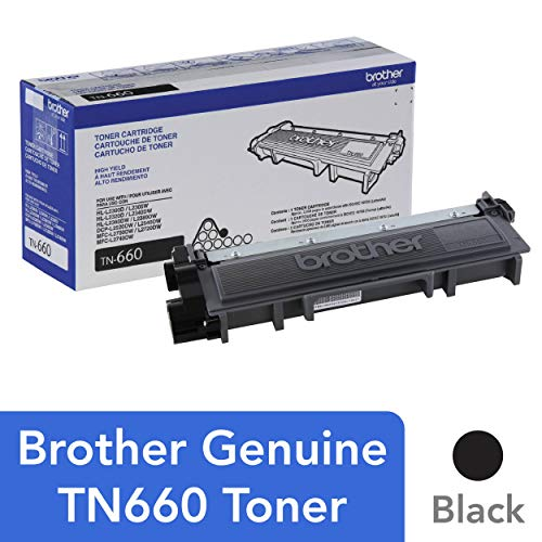 Office Products : Brother Genuine High Yield Toner Cartridge, TN660, Replacement Black Toner, Page Yield Up To 2,600 Pages, Amazon Dash Replenishment Cartridge