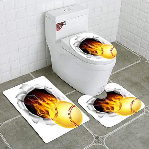 BEISISS Bathroom Mat Sets 4 Piece-Non-Slip - Short Plush Flaming Softball Ball Tearing a Hole in The Background Bathroom Rug + Contour pad + lid Toilet seat+Toilet seat Cushion