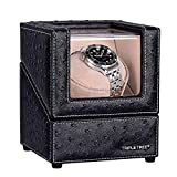 Single Watch Winder Newly Upgraded, with Flexible Plush Pillow, in Wood Shell