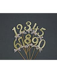 Gold Glitter Numbers 0-9 Cake Toppers Cupcake Toppers Table Numbers Set of 10, Birthday or Anniversary Party Decorations, Thick Cardstock Best Quality, Fast Amazon Logistics and 100% Refund Service