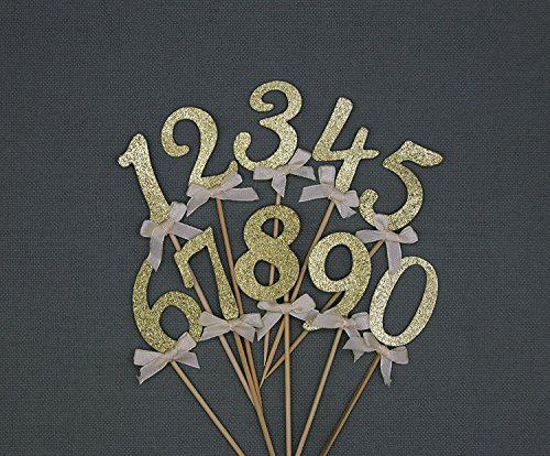Gold Glitter Numbers 0-9 Cake Toppers Cupcake Toppers Table Numbers Set of 10, Birthday or Anniversary Party Decorations, Thick Cardstock Best Quality, Fast Amazon Logistics and 100% Refund Service -