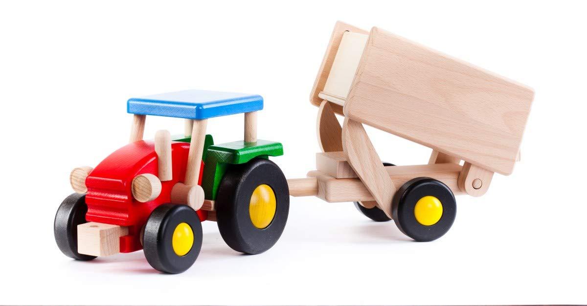 Fahrzeuge Bauernhof Woodfriends Traktor Trecker  mit Anhänger Holz