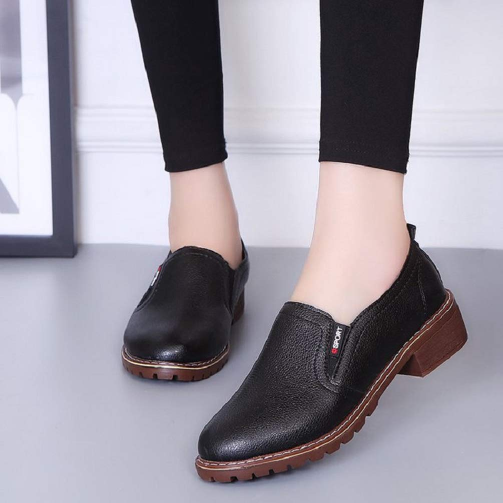 Women Casual Block Low Heel Shoes PU Leather Comfortable Spring Non Slip Round Toe Flats Loafers