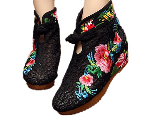 ankle and round chinese style ladies CROWN TIANRUI boot toe embroidery Black women's xEzqfnwX