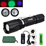 Multicolor Rechargeable Flashlights, Adjustable Focus 3 Color Flash Light (Green, Red, UV, Black Light) XD-96H Torch , Night Hunting Light Kit for Coyote, Predator, Varmint and Hogs