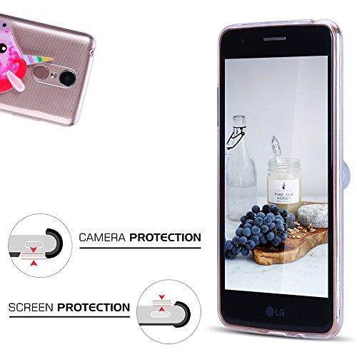 Funda LG K4 2017, Caselover 3D Bling Silicona TPU Unicornio Carcasas para LG K4 2017 Glitter Líquido Arena Movediza Protección Caso Sparkle Brillar Cristal Tapa Case Suave Transparente Claro Bumper Co Rosa roja