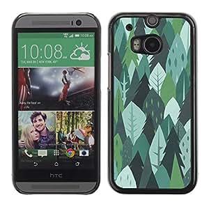 Be Good Phone Accessory // Dura Cáscara cubierta Protectora Caso Carcasa Funda de Protección para HTC One M8 // Trees Forest Nature Green Drawing Summer