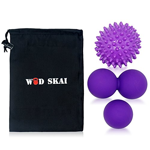 WODSKAI Massage Ball Myofascial Release Lacrosse Ball for Trigger Point Therapy, Muscle Knots, Yoga Therapeutics with 3 Kinds Bag-Free Carrying Bag