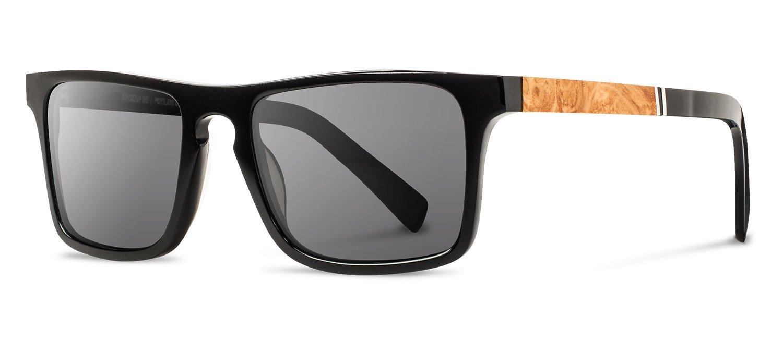Shwood - Govy 2 Acetate, Sustainability Meets Style, Black/Maple Burl, Grey Lenses