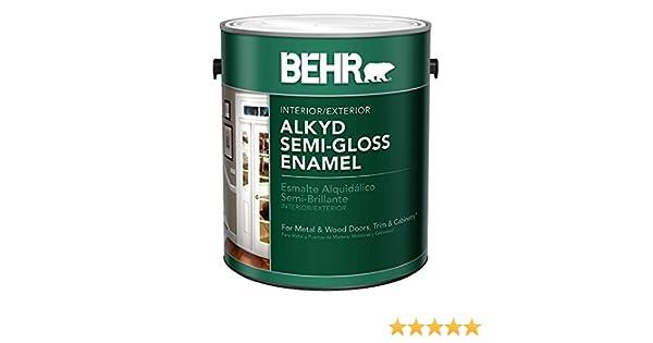 BEHR 1-Gal  White Alkyd Semi-Gloss Enamel Interior/Exterior Paint
