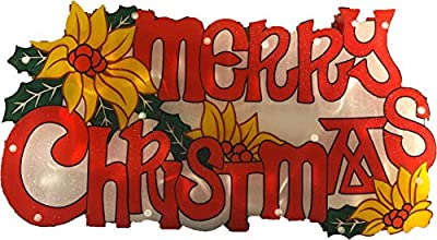 BRC Christmas Window Decoration - Glitter Merry Christmas Sign with 20 Lights Double Sided