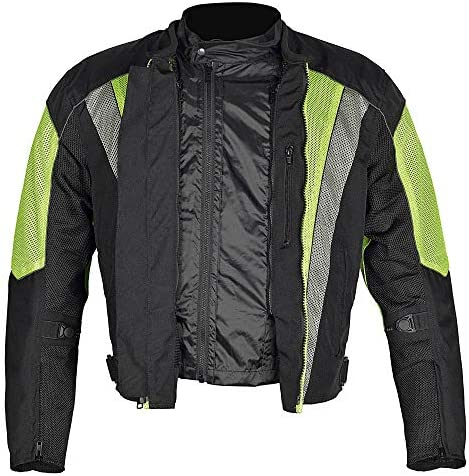 M Men Motorcycle Mesh Race Jacket with CE Protection Neon Green Black MBJ054-1