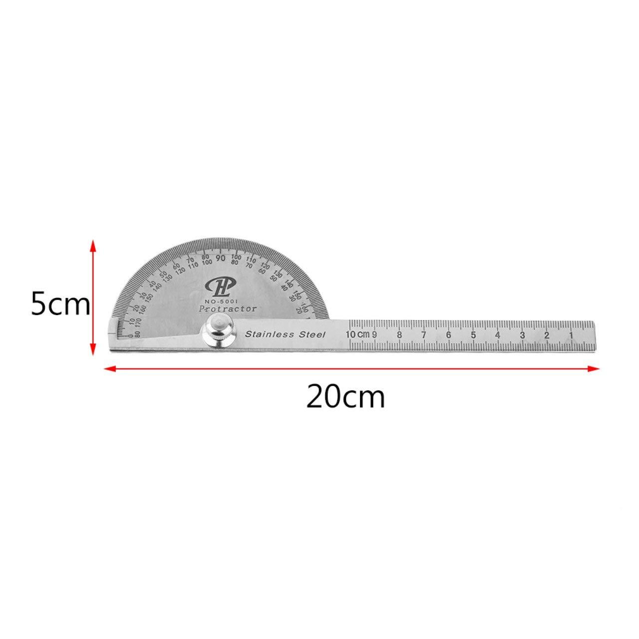 plata Transportador de acero inoxidable 180 grados Buscador de /ángulo de rotaci/ón Regla Regla Medida 100 mm Herramienta para maquinista Dise/ñador Jasnyfall