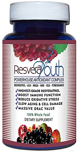 Resvera Youth Antioxidant Antiaging Power Formula 30 Caps - 6 Pack by 4 Organics