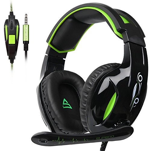 SUPSOO G813 Stereo Gaming Headsets for PS4, New Xbox One, Noise Cancelling Over Ear Headphones with Mic, Bass Surround,Soft Memory Earmuffs for Laptop PC Mac (Black&Green) by SUPSOO