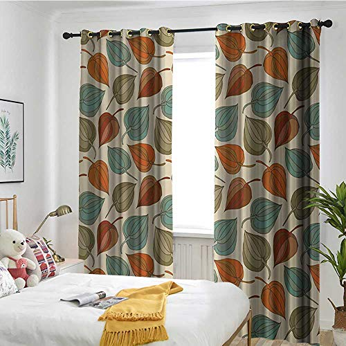 TRTK Bedroom Curtain Living Room Dining Room Children's Youth Room Curtain Floral,Onion Flower Leaves Mother Nature in Autumn Art Nouveau Winter Cherry Rural Pattern,Multicolor