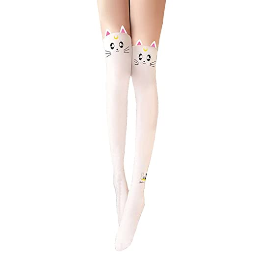 1bbff591b778e Amazon.com: Girls Tights Socks Anime Sailormoon S Moon Messenger Luna  Sailor Moon Black Kitty Cat Tail for Women's Hosiery Pantyhose Leggings  (White): ...