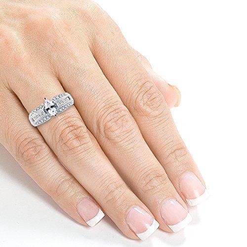 Bague de Fiançailles 13/5/5ctw Diamant Marquise en or blanc 14K (certifié) _ 6,5